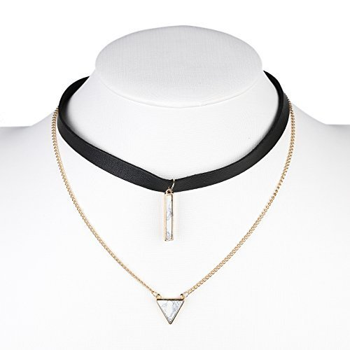 Primary image for UE- Gold Tone Black Faux Leather Designer Choker Necklace & Faux Marble Pendant