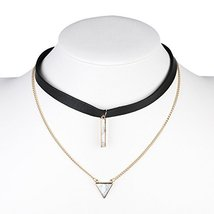 UE- Gold Tone Black Faux Leather Designer Choker Necklace & Faux Marble ... - $17.99
