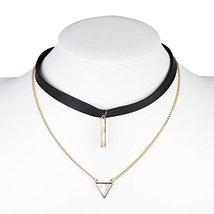 UE- Gold Tone Black Faux Leather Designer Choker Necklace & Faux Marble Pendant - $17.99