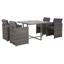 vidaXL 13 Piece Outdoor Dining Set Gray Poly Rattan Garden Patio Chair T... - $304.99