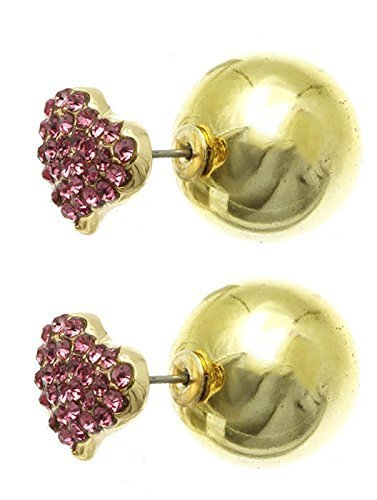 Rhinestone Heart Ball Earrings - Double Sided (Pink Goldtone)