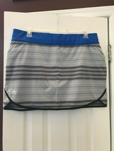 Nwt Ladies Adidas Gray & Royal Blue Striped Pull On Stretch Skort - Size Xl - $26.99