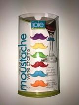 6 pc Joie Wine Glass Stem Charms Moustache Mustache Wine Charms - $3.71