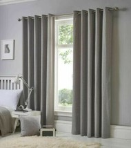 PLAIN SILVER GREY 100% COTTON FULLY LINED ANNEAU TOP CURTAINS 8 SIZES - $34.80+