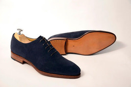 Handmade Men's Navy Blue Suede Oxford Shoes image 1