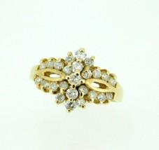 14k Yellow Gold Genuine Natural Diamond Cocktail Ring .75ct (#J2014) - $795.00