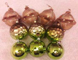 Lot 10 Gold & Green Ornaments Christmas Balls Tassels Disco Sequined Fan... - $5.93