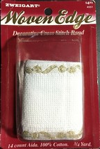 """Zweigart's Woven Edge Stitch Band 14 count Gold Bows 2 1/2"""" x 24""""  Cross Stitch - $4.70"""