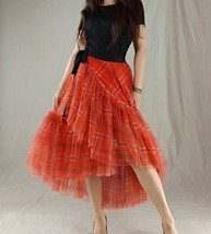 Women High Waist Wrap Tulle Skirts Red Plaid Wrap Skirt Tulle Party Formal Skirt image 2