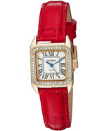Peugeot Womens 14K Gold Plated Square Tank Petite Small Red Leather Band... - $143.05