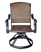 Wicker swivel rocker patio chairs set of 6 outdoor cast aluminum furniture image 2
