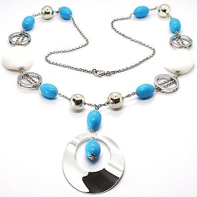 925 Silver Necklace, White Agate Crimped, Turquoise, Oval Pendant, 70 cm