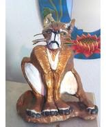 Cat Sculpture Handmade Signed Damaged TLC - $100.00