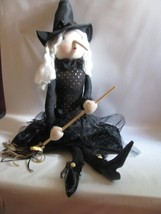 "24"" Soft Sculpture Halloween Glamour Sitting Witch  with Broomstick - $22.76"