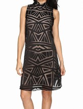 Vince Camuto NEW Black Women's Mock-Neck Burnout Shift Dress Size 4  $168 - $22.87