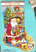 Bucilla Santas Visit Teddy Bear Puppy Christmas Needlepoint Stocking Kit 60702 E - $179.95