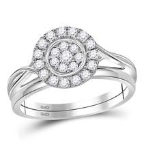 10kt White Gold Round Diamond Cluster Bridal Wedding Ring Set 1/3 Cttw - $355.95