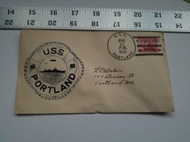 Home Treasure Postal Cover Envelope 1934 Postmark USS Portland ME Ship Ring Buoy - $9.49