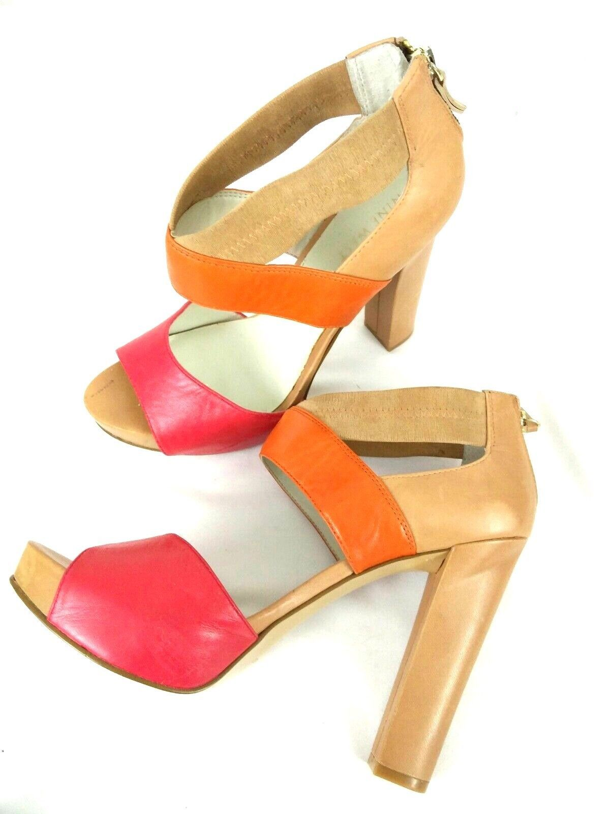 Nine West Stylin Women 8M Leather Multi Color Open Toe Platform Zipper Back Heel