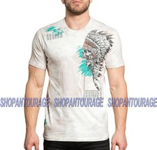 Affliction Aces High A19550 New Men`s Graphic Fashion Short Sleeve Cream... - $48.95