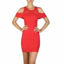 Guess Women Dress Red Short Mini Crew Neck Short Sleeve Bodycon Wrap - $77.28