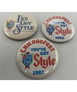 """I've Got OLD STYLE Beer Vintage Chicagofest 1982 Pinback Button Lot/3 3""""... - $9.45"""