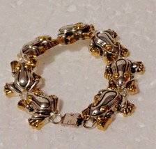 """Gold and Silver Tone Frog Bracelet 7""""  - $8.90"""