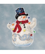 Snowman With Lights 2016 Winter Series cross stitch kit Jim Shore Mill Hill - $7.65