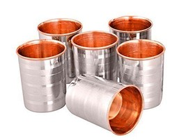 water glass Inner Copper & Outer Steel Linning set of 6 - $31.90