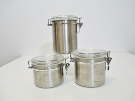 Stainless Steel Canister Set w/ Clear Acrylic Hinged Locking Clamp Lids ... - $39.55