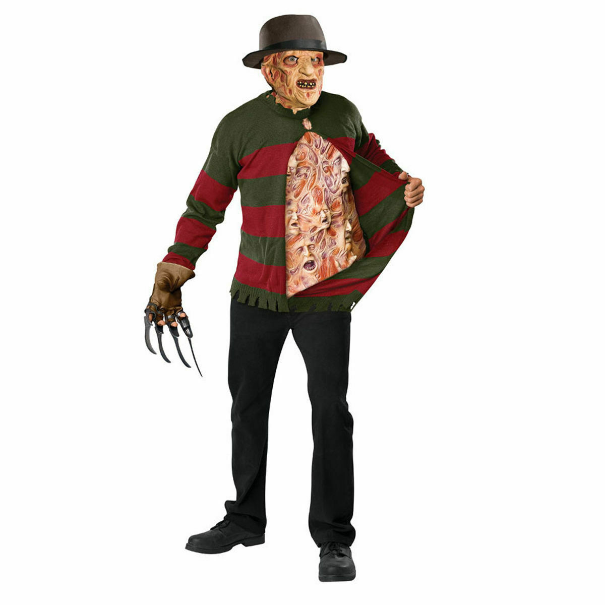 Men's Freddy Krueger Chest of Souls Halloween Costume Kit with Hat and Mask image 2