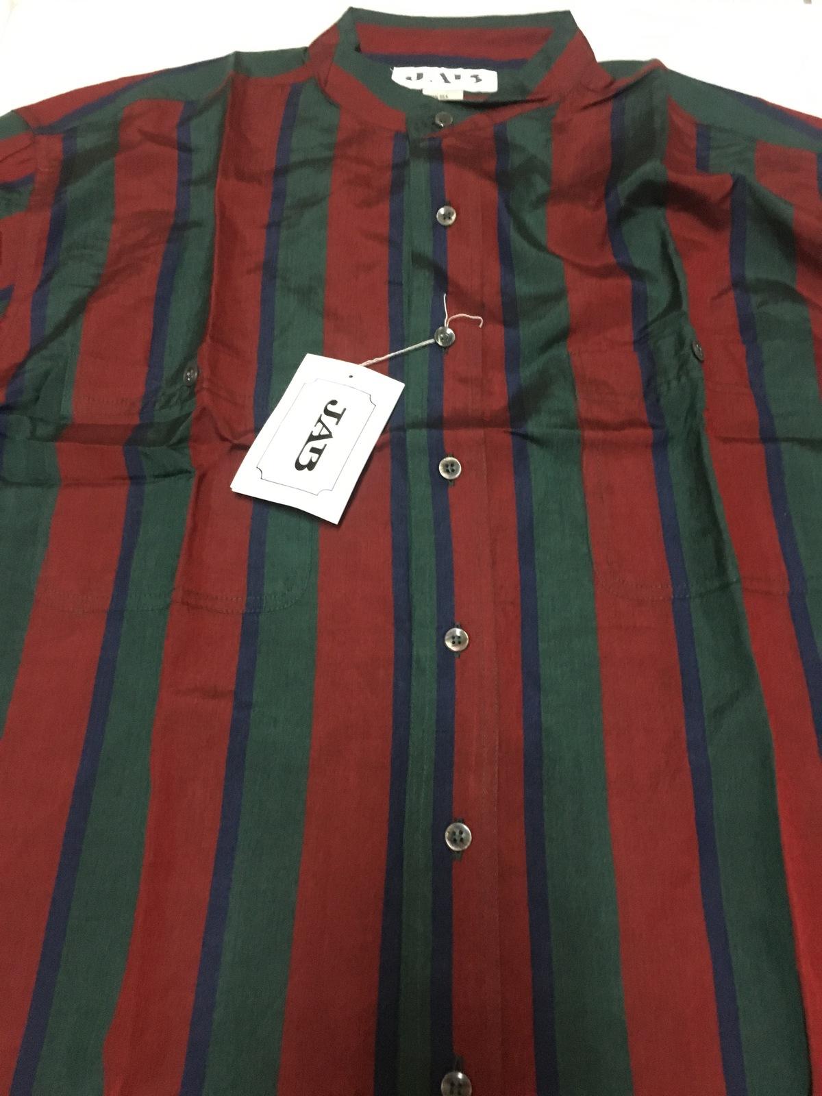 Men's 100% Silk Long Sleeved Shirt Red,Green & Blue Striped XL, M