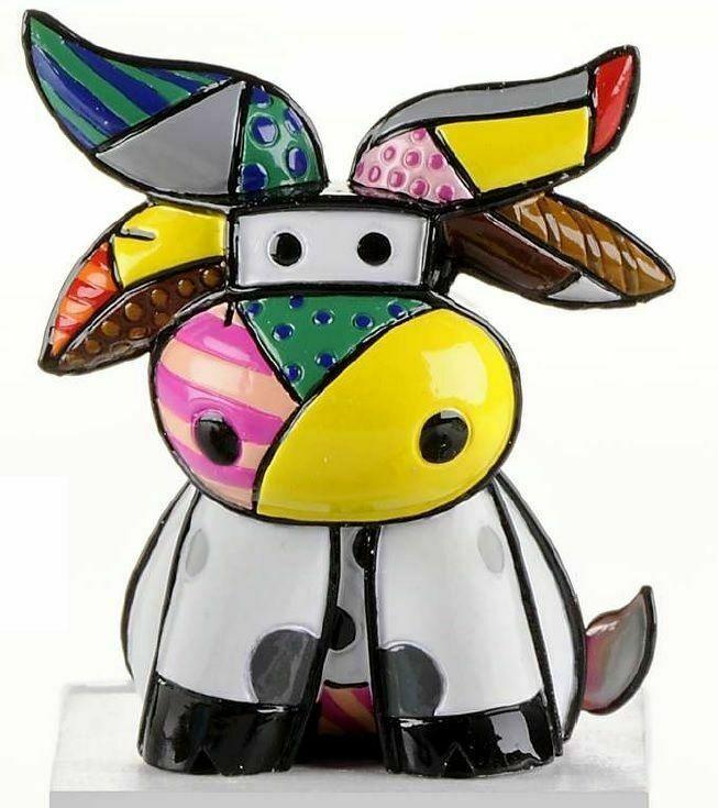 Romero Britto Mini Cow Figurine #331842 Rare Collectible