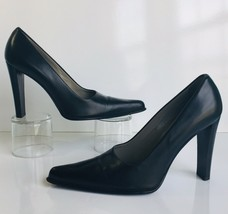 Vintage Prada Gorgeous Classic Black Leather Block Heel Pumps Heels Size 36 - $125.00