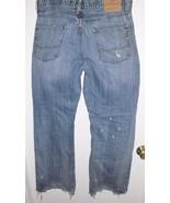 AMERICAN EAGLE Jeans Sz 34 Bootcut Destroyed Grunge Mid Rise Blue Denim ... - $29.69