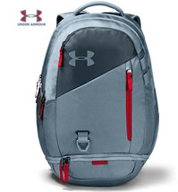 Under Armour UA Hustle 4.0 Backpack Ash Gray / Red Bag Laptop School 1342651-013 - $64.90