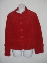 Elevenses Anthropologie Red Corduroy Jacket Size 12 Ruffle Trim Large Bu... - $37.11