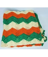 "Retro Vintage Crochet Afghan Blanket Huge 66x70"" Green Orange Zig Zag Sc... - $48.74"