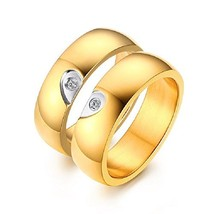 GINBL 6MM Gold Plated Men Heart Shape Titanium Couple Wedding Rings Wome... - $11.78