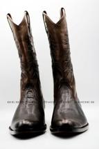 Handmade Men's Dark Brown Cow Leather Lizard Embossed Western Cowboy Boots