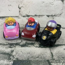 Fisher Price Little People Wheelies Lot Of 3 Race Car Mom Pink Man Red - $11.88