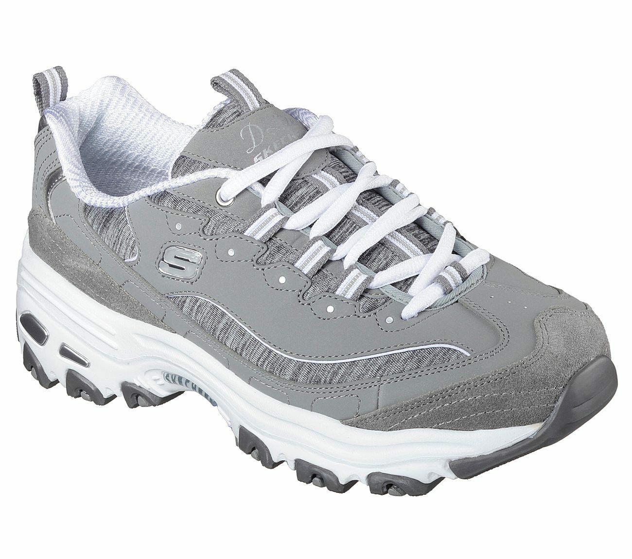 Skechers EW Wide Fit Gray Dlites shoe Women Sport Memory Foam Soft Sneaker 11936 - $49.79
