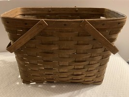 Longaberger Magazine Basket, Double Handles, Rich Brown Stain, 1983 Signed MK - $34.99