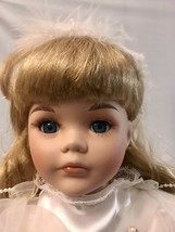 """Vintage Doll 16"""" Porcelain And Felt Cloth With Stand - $11.30"""
