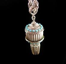 Exotic Tassel Necklace - turquoise tassel glass dangle drop - bellydance... - £90.51 GBP