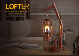 Industrial Era Novelty Barn Latern Table/ Desk Lamp Antique Rust Finish ... - $158.46
