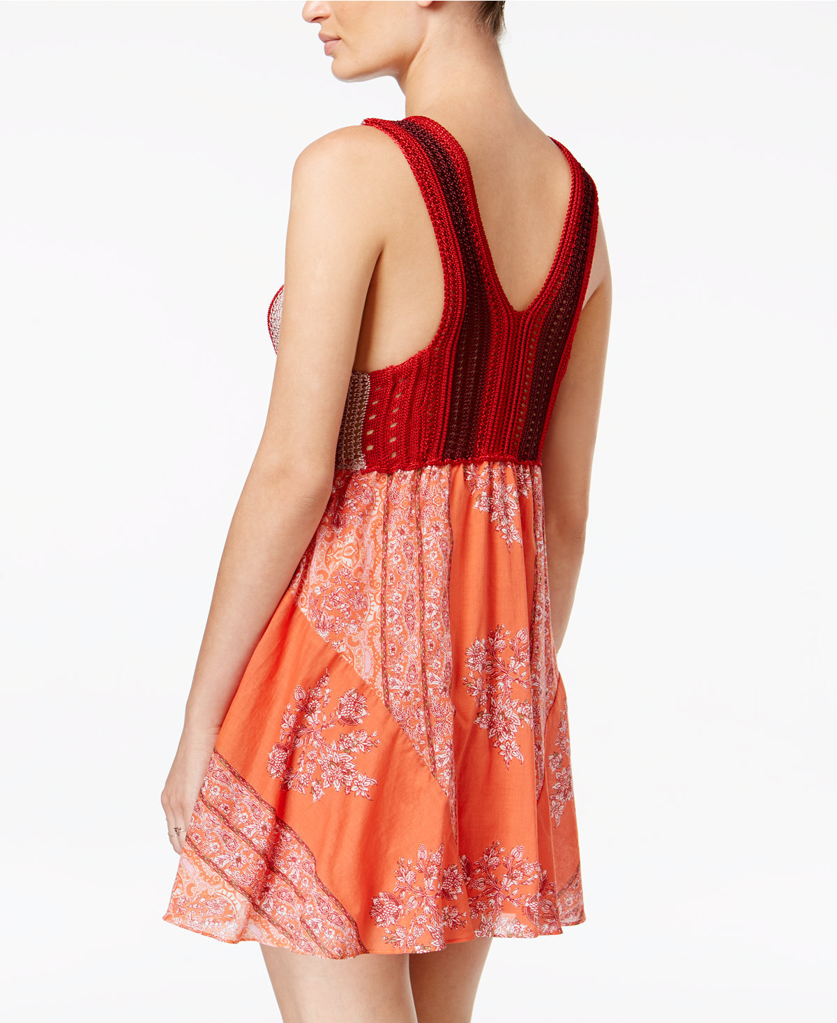 ddb161562a55 Free People Katies Mini Dress: Crochet Bodice: Red Combo: SMALL: NWT: