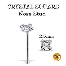 Silver 2.5.mm Claw Set SQUARE CUT CZ Nose Stud Bobble Ball Stay 20g 6mm (Bx2) - $6.79