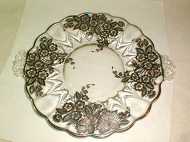 Depression glass silver overlay 2 handle serving plate ground base floral - $30.00