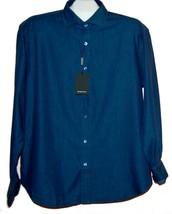 Bugatchi Men's Navy Blue Design Cotton Shirt Size US XL Shaped Fit NEW - $108.89
